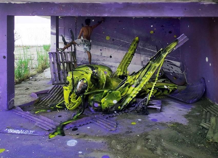 08-Bordalo II - Amazing Street Art Murals From Trash