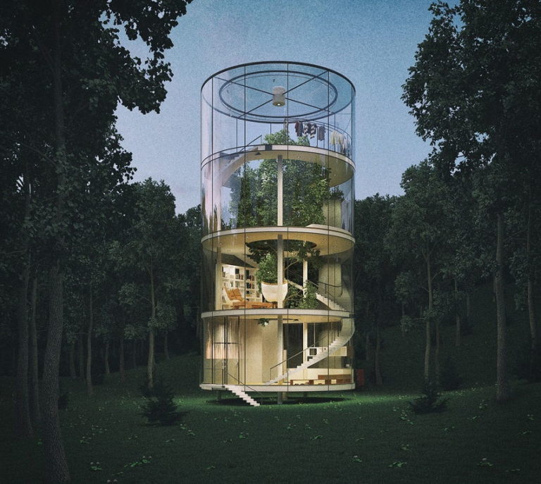 The Treehouse of the Future: Amazing Cylindrical Glass House Can Be Built Around a Living Tree