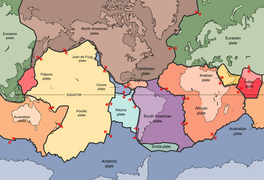 A map of tectonic plates