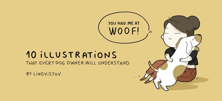 Dog owner funny illustrations