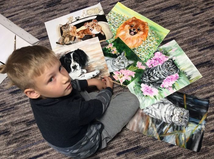 9-Year-Old Russian Painter Sells His Art to Support Shelter Animals