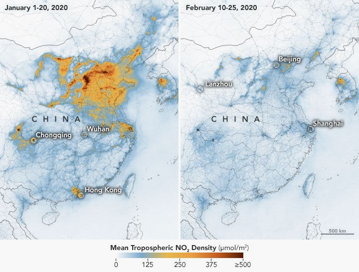 china drop in air pollution coronavirus